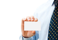 Pure white card in man's hands Stock Image