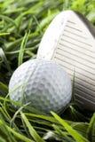 Pure White Golfball on green grass stock photo