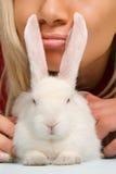 Pure white rabbit Stock Photo