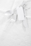 Pure white table setting Royalty Free Stock Photography