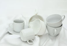 Pure white utensils on a white cloth Royalty Free Stock Photography
