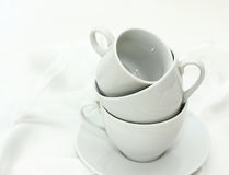 Pure white utensils on a white cloth Royalty Free Stock Image