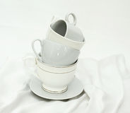 Pure white utensils on a white cloth Stock Photography