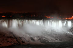 Pure White Water Falls. Niagara Falls with night scene stock image