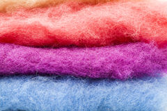 Pure Wool colored. Foreground details of colored wool Stock Images