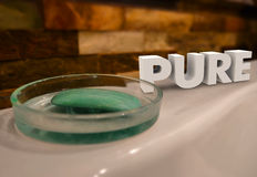 Pure Word Bath Soap Dish Purify Cleanse Natural. Pure word in 3d letters on a bath tub with soap dish to illustrate getting clean, purified or washed to be all Stock Photos