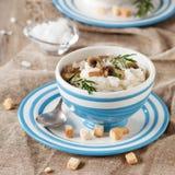 Puree with cauliflower and mushroom Royalty Free Stock Image