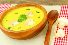 Puree Cream Soup of Zucchini with Mushrooms Stock Photo