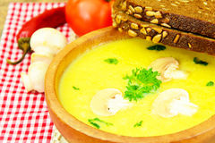 Puree Cream Soup of Zucchini with Mushrooms Royalty Free Stock Image