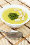 Puree soup with broccoli and croutons Royalty Free Stock Photos