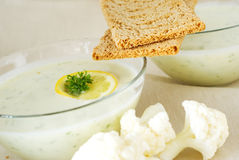 Puree soup with crispbread Royalty Free Stock Image