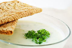 Puree soup with crispbread Royalty Free Stock Photos