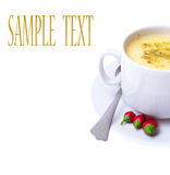 Puree soup with vegetables on white background Royalty Free Stock Images