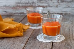 Puree from sweet pumpkin, delicious dessert. Homemade pumpkin pu Royalty Free Stock Photos