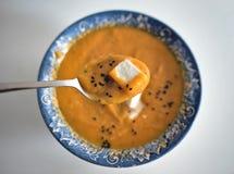 Puree zupnej bani z grulami i feta serem na łyżce Obraz Royalty Free