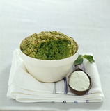 Pureed peas with fresh mint sauce Stock Images