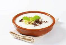 Pureed Rice Pudding with banana and chocolate Stock Image