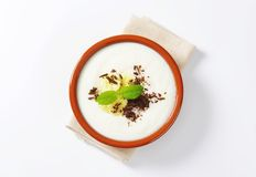 Pureed Rice Pudding with banana and chocolate Royalty Free Stock Photo