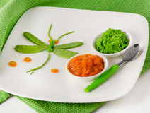 Pureed vegetables for baby Stock Photography