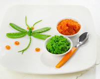 Pureed vegetables for baby Stock Photos