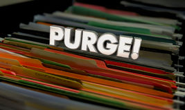 Purge Clean Old Files Throw Out Documents Folders 3d Illustratio. N Stock Photography