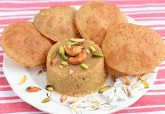 Puri and halwa Royalty Free Stock Images