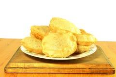 Puri indian food fried wheat flour roti chapati or flat bread Royalty Free Stock Photo