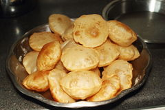 Puri indian food in kitchen Stock Photo