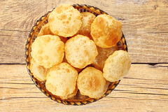 Puri or Poori traditional indian homemade deep fried bread or chapati Stock Photos
