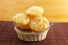 Puri or Poori traditional indian homemade deep fried bread or chapati Stock Images