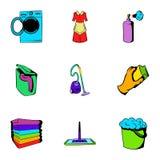 Purification icons set, cartoon style Royalty Free Stock Photos