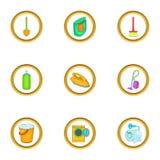 Purification icons set, cartoon style Royalty Free Stock Photo