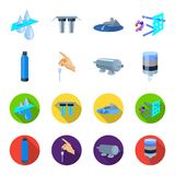 Purification, water, filter, filtration .Water filtration system set collection icons in cartoon,flat style vector. Symbol stock illustration Royalty Free Stock Images
