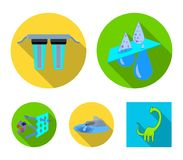 Purification, water, filter, filtration .Water filtration system set collection icons in flat style vector symbol stock. Illustration Royalty Free Stock Image