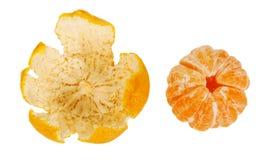 Purified mandarin and peel Royalty Free Stock Image