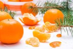 Purified mandarynka plasterki, całe mandarynki i jodeł gałąź, fotografia stock