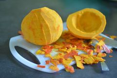Purified pumpkin for cooking Royalty Free Stock Photos