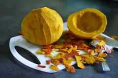 Purified pumpkin for cooking Royalty Free Stock Photography