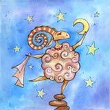 Purifying stars. Sheep rubs moon cloth standing on the rocks Royalty Free Stock Image