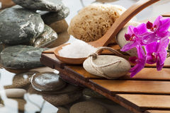 Purifying washing-up moment at the water spa. Fragranced hydration and peeling for natural wellbeing Stock Photo