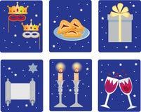 Purim, ícones dos feriados, feriado religioso judaico Fotos de Stock