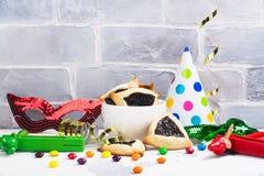 Purim świętowania karnawałowy set Żydowski karnawałowy wakacyjny Purim obrazy stock