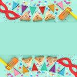 Purim świętowania pojęcie & x28; żydowski karnawałowy holiday& x29; nad drewnianym nowym tłem zdjęcie stock