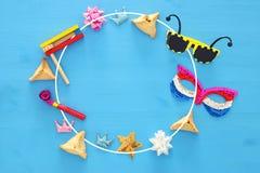 Purim świętowania pojęcie & x28; żydowski karnawałowy holiday& x29; Odgórny widok obrazy royalty free