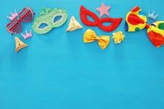 Purim świętowania pojęcie & x28; żydowski karnawałowy holiday& x29; Odgórny widok obraz royalty free