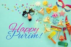 Purim świętowania pojęcie & x28; żydowski karnawałowy holiday& x29; Odgórny widok fotografia stock