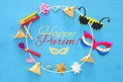 Purim świętowania pojęcie & x28; żydowski karnawałowy holiday& x29; Odgórny widok zdjęcie royalty free