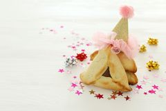 Purim świętowania pojęcie & x28; żydowski karnawałowy holiday& x29; Tradycyjny hamantaschen ciastka fotografia stock