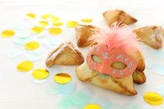 Purim świętowania pojęcie & x28; żydowski karnawałowy holiday& x29; Tradycyjny hamantaschen ciastka obrazy stock