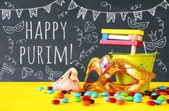 Purim świętowania pojęcie & x28; żydowski karnawałowy holiday& x29; obrazy royalty free